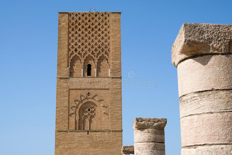 De Hassan Tower in Rabat, Marokko stock foto's