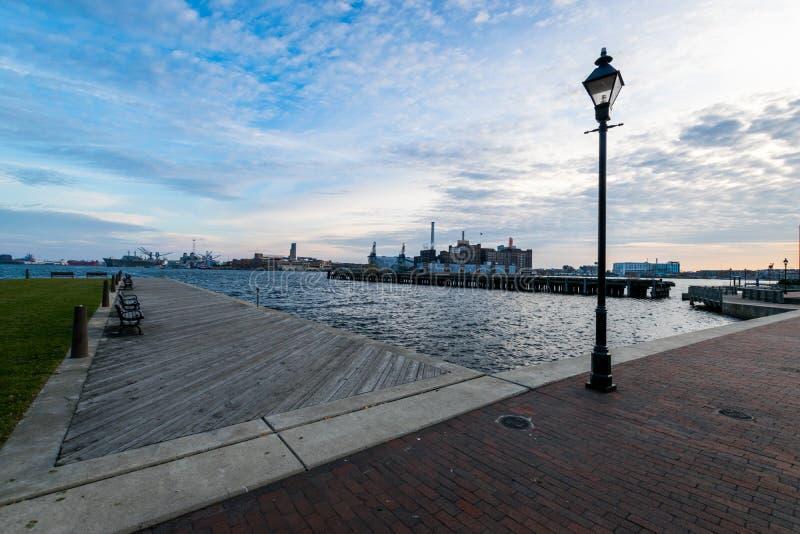 De haven in het historische Havenoosten van de binnenstad Fells Punt, Baltimore royalty-vrije stock afbeeldingen