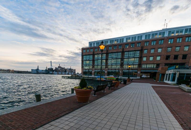De haven in het historische Havenoosten van de binnenstad Fells Punt, Baltimore stock afbeeldingen