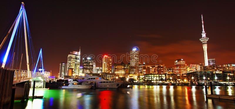 De Haven Nightscape van Auckland stock fotografie