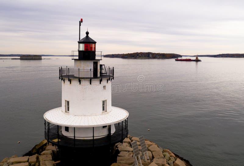 De Haven Portland van Ledge Light Sparkplug Lighthouse Beacon van het de lentepunt stock afbeeldingen