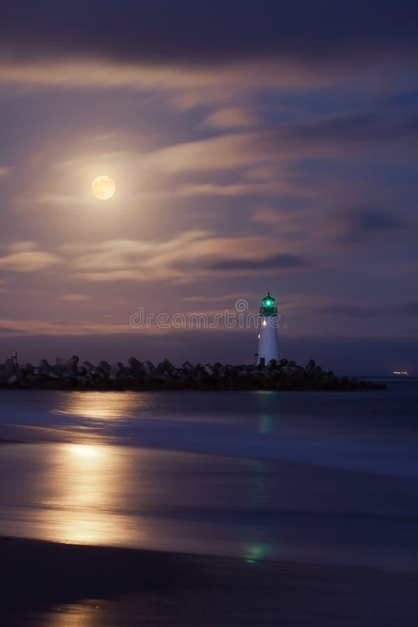 De haven 's nachts vuurtoren van Cruz van de kerstman stock fotografie