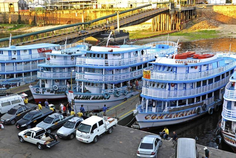 De haven van Brazilië Manaus in de Zwarte van Rio stock foto