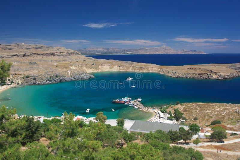 De haven van de haven van de stad van Lindos royalty-vrije stock fotografie