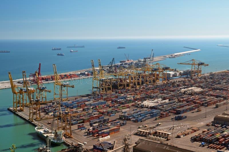 De Haven van de lading in Barcelona - Spanje stock fotografie