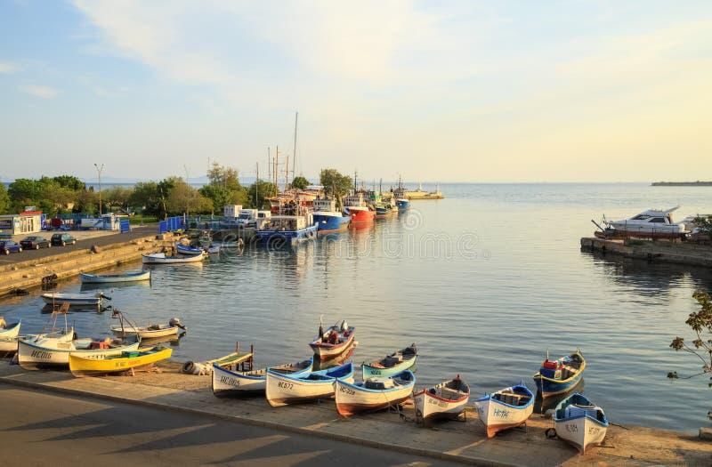 De haven van de oude stad van Nessebar, Bulgarije stock foto's