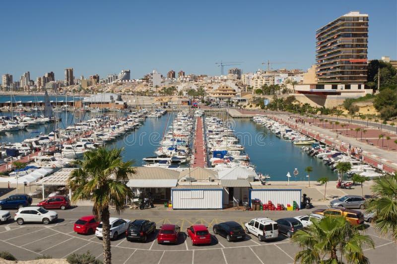 De haven van Gr Campello en jachthaven, Spanje royalty-vrije stock foto