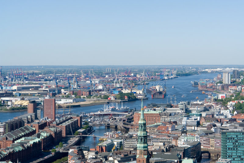 De haven van Hamburg stock foto's