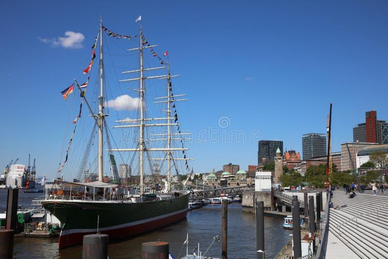 De Haven van Hamburg, een Zeehaven op de Rivier Elbe in Hamburg duitsland royalty-vrije stock fotografie
