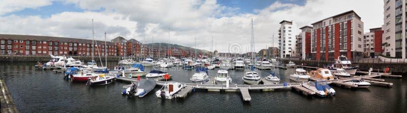 De haven van het Tawebassin in Swansea stock fotografie