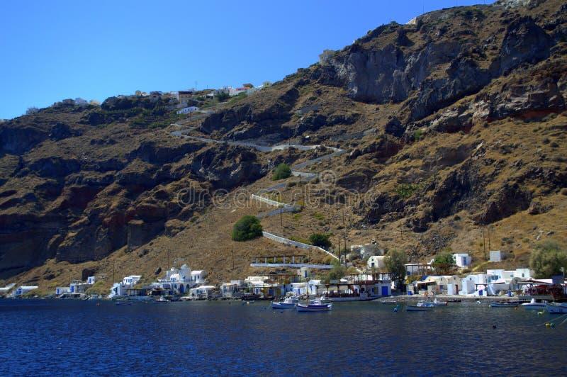De haven van het Thirassiaeiland, Griekenland stock afbeelding