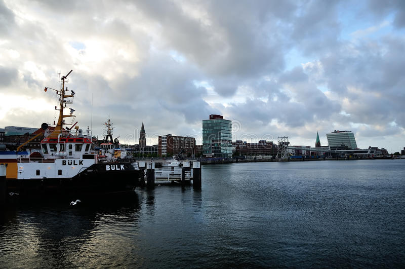 De haven van Kiel, Duitsland stock afbeeldingen