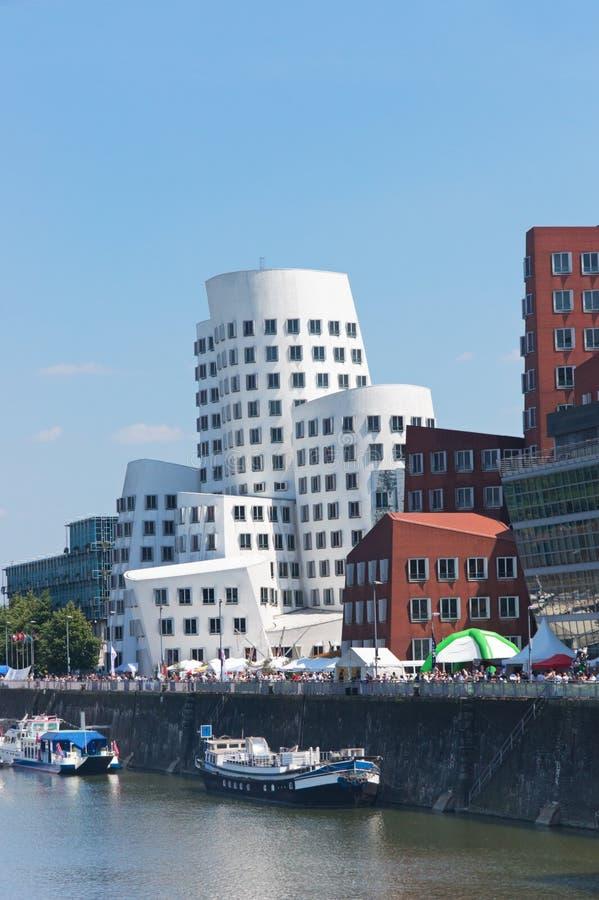 De Haven van media (Medienhafen) in Dusseldorf stock afbeelding