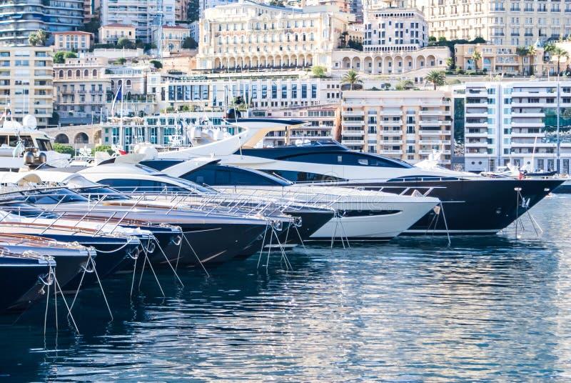 De haven van Monte Carlo, Monaco, Frankrijk royalty-vrije stock foto