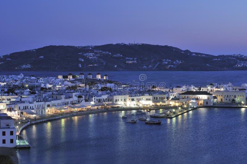 De Haven van Mykonos bij nacht royalty-vrije stock afbeelding