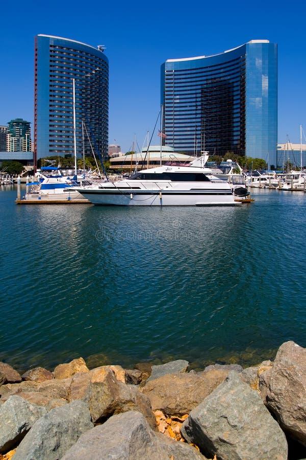 De Haven van San Diego en de stad in royalty-vrije stock afbeeldingen
