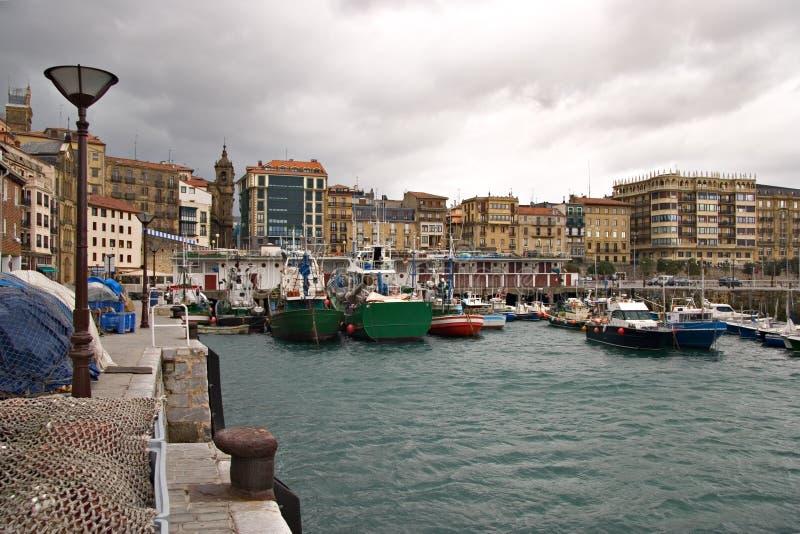 De haven van San Sebastian, Baskisch land stock afbeelding