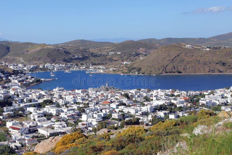 De haven van Skala op Patmos-eiland royalty-vrije stock afbeelding