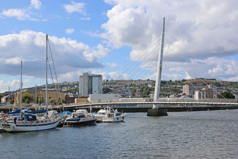 De Haven van Swansea, Wales stock foto