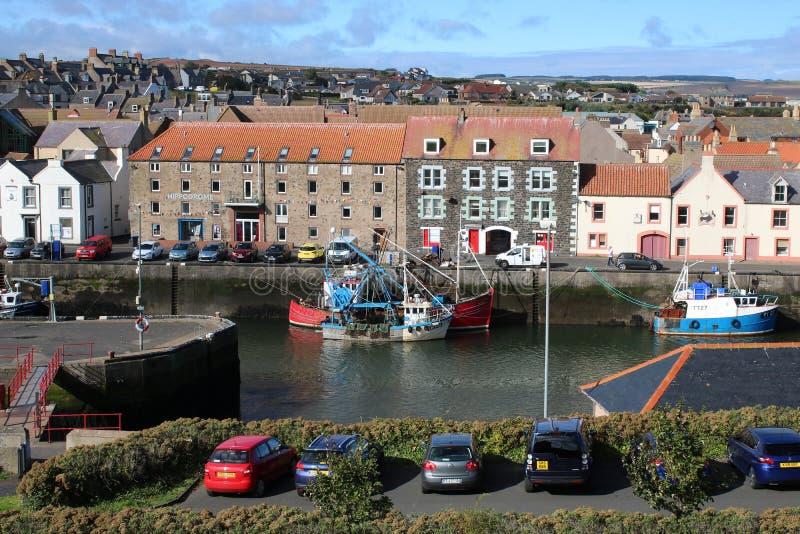 De haven van vissersboteneyemouth, Grenzengebied het UK royalty-vrije stock afbeeldingen