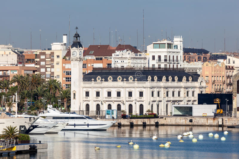 De havenautoriteitbouw in Valencia, Spanje royalty-vrije stock fotografie