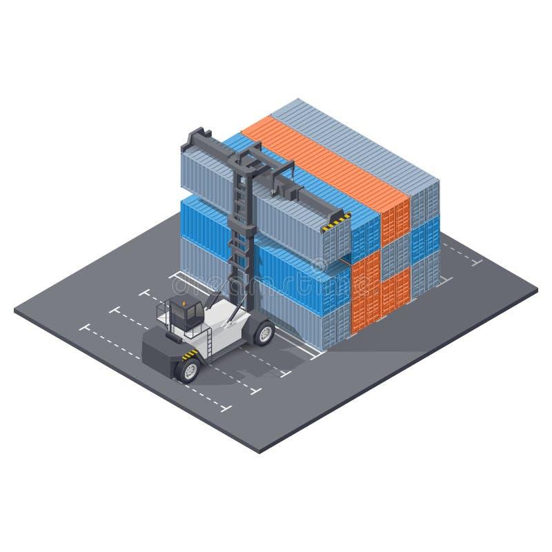 De havenlader stapelt het isometrische pictogram van 40 voetcontainers stock illustratie