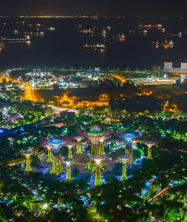De havennacht van Singapore van de tuinenbaai stock afbeeldingen