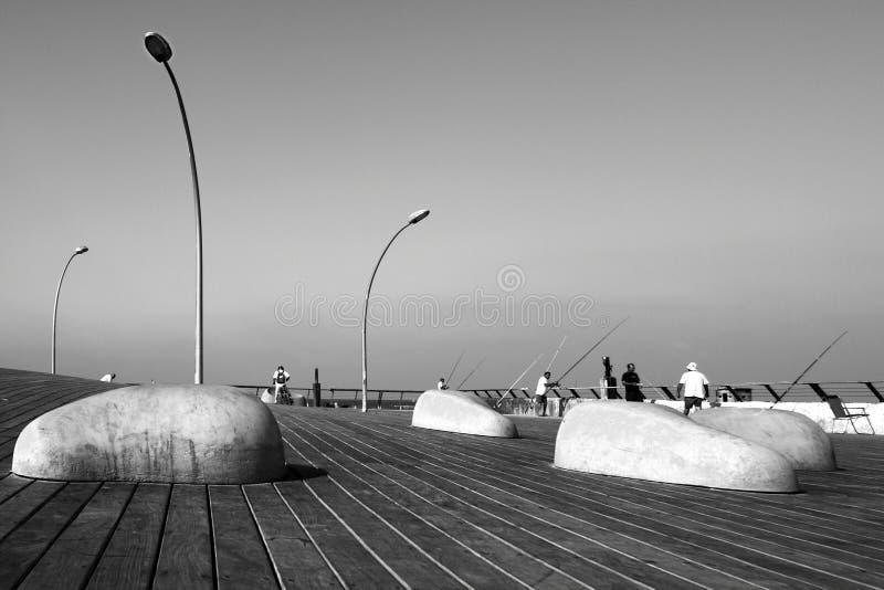De havenpromenade van Tel Aviv, stedelijk ontwerp royalty-vrije stock afbeelding