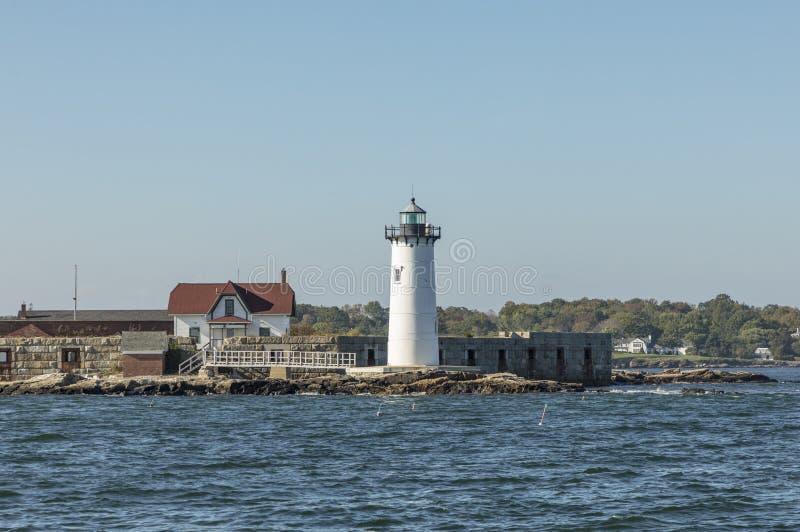 De Havenvuurtoren van Portsmouth en de Staat Histori van de Fortgrondwet royalty-vrije stock foto
