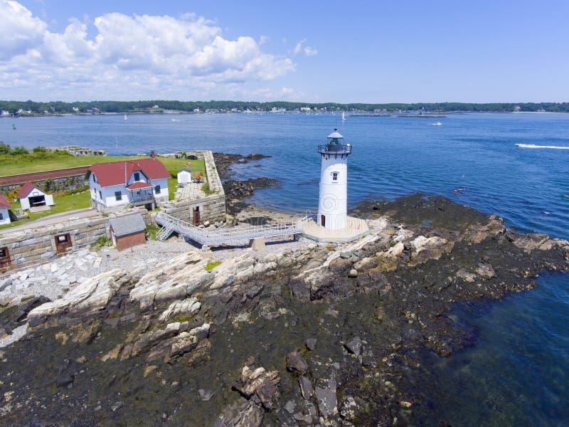 De Havenvuurtoren van Portsmouth, Nieuw Kasteel, NH, de V.S. royalty-vrije stock afbeeldingen