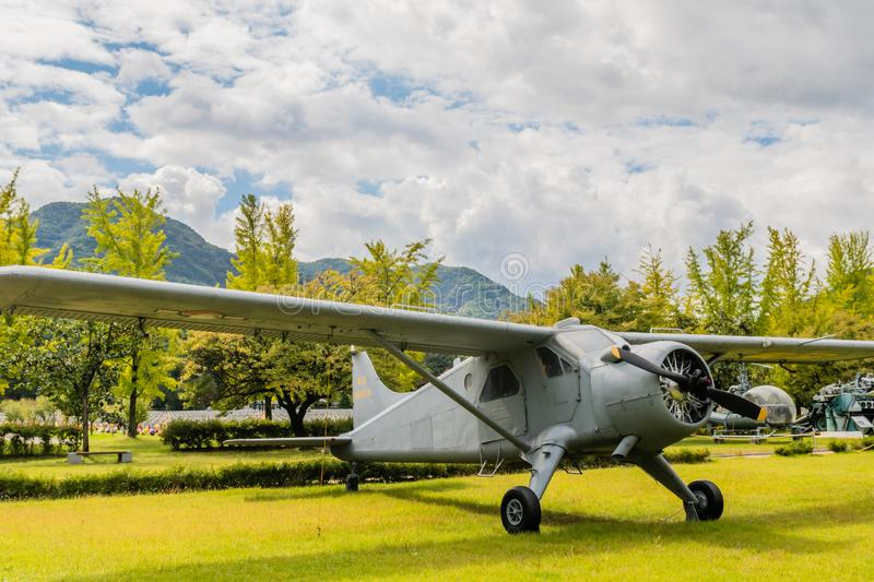 De Havilland U-6 Beaver. Daejeon, South Korea; October 3, 2019: De Havilland U-6 Beaver training aircraft on display at National Cemetery stock photo