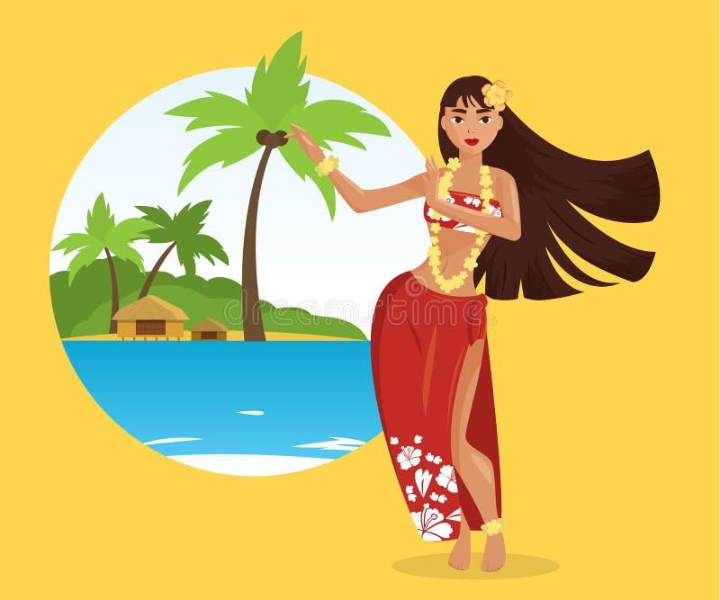 De Hawaiiaanse jonge mooie vrouw van de huladanser vector illustratie