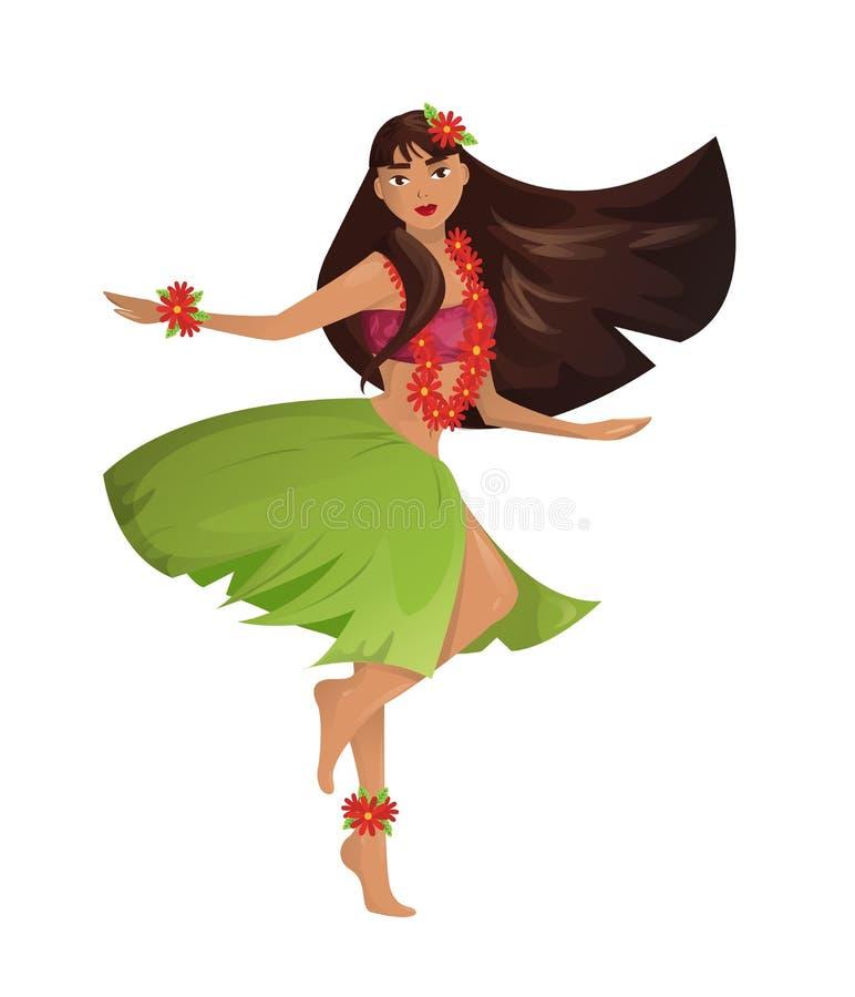 De Hawaiiaanse jonge mooie vrouw van de huladanser royalty-vrije illustratie
