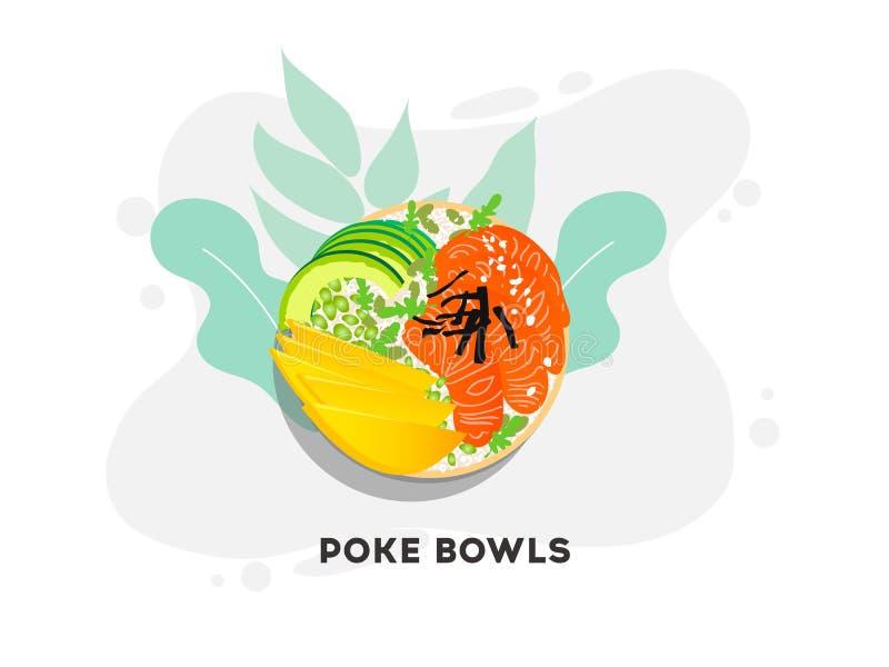 De Hawaiiaanse kom van de zalmpor met zeewier, avocado nam, sesamzaden en mango toe vector illustratie