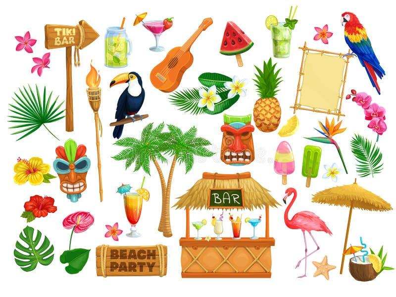 De Hawaiiaanse pictogrammen van de strandpartij royalty-vrije illustratie