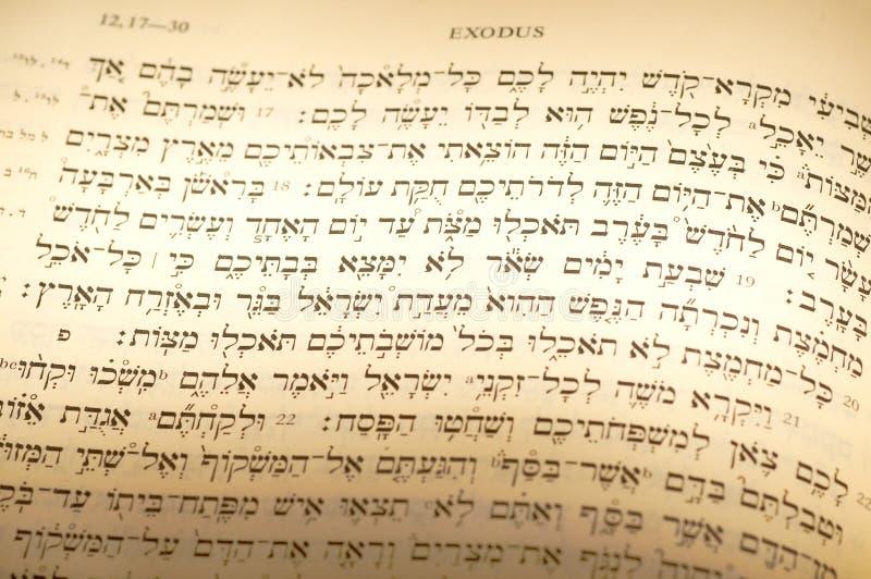 De Hebreeuwse tekst van de Pascha stock fotografie
