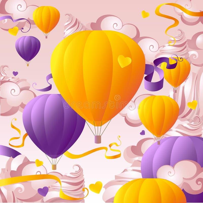 De heemst van vluchtballons cloudscape vector illustratie