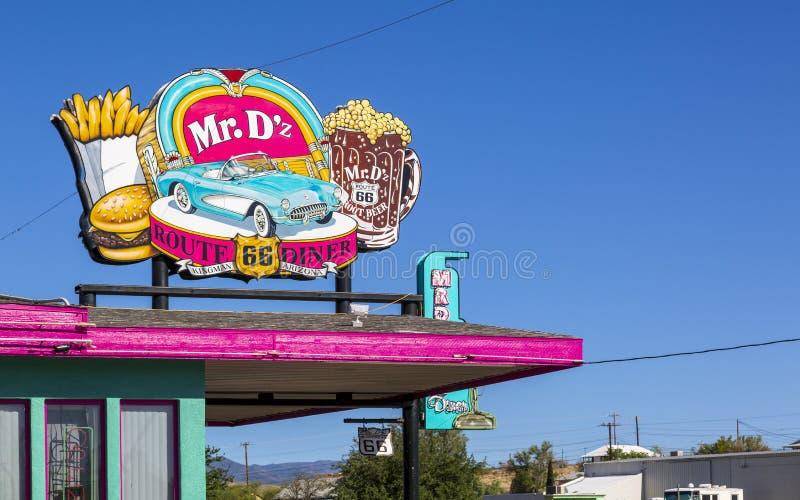 De heer D 'z Diner, Route 66, Kingman, Arizona, de V.S., Amerika, Verenigde Staten, Noord-Amerika stock afbeeldingen