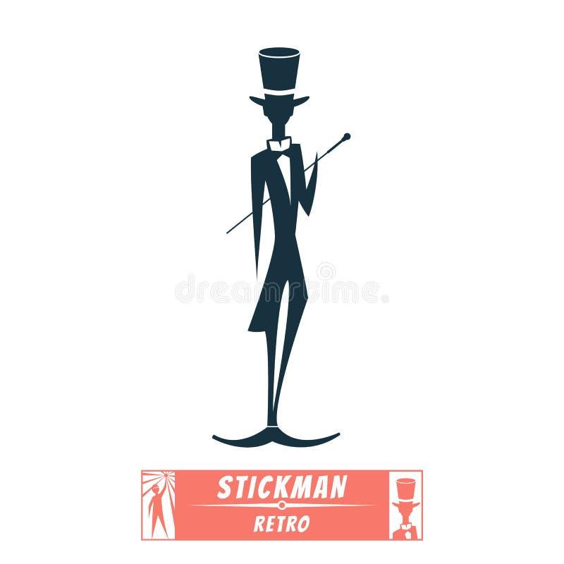 De heer van het stokcijfer met een riet royalty-vrije illustratie