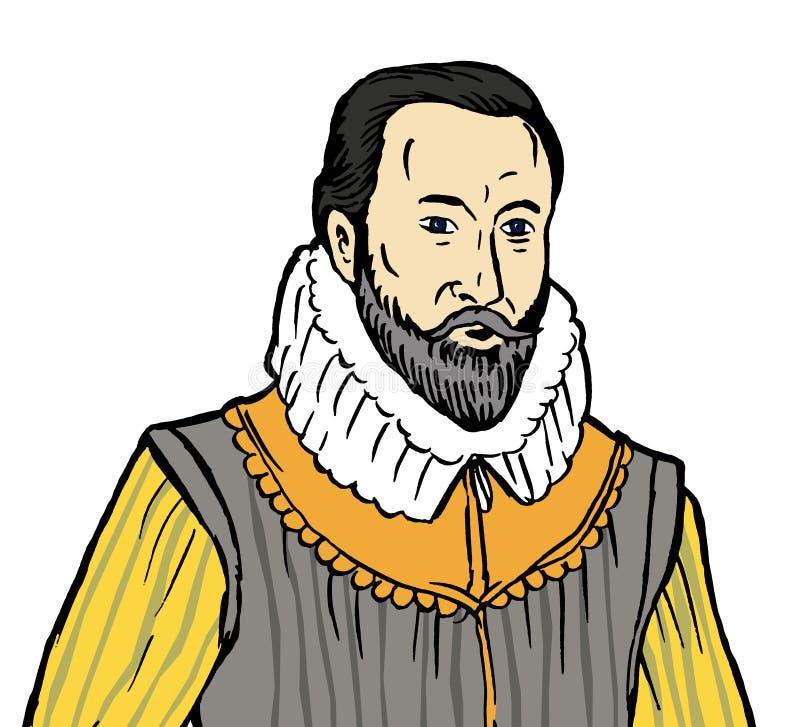 De heer Walter Raleigh stock illustratie