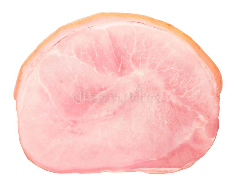 de heerlijke die plak van de varkensvleesham op witte achtergrond wordt geïsoleerd royalty-vrije stock foto