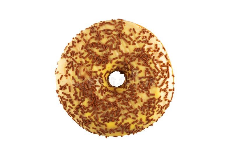 De heerlijke Doughnut met bestrooit Geïsoleerd op Witte Achtergrond stock fotografie