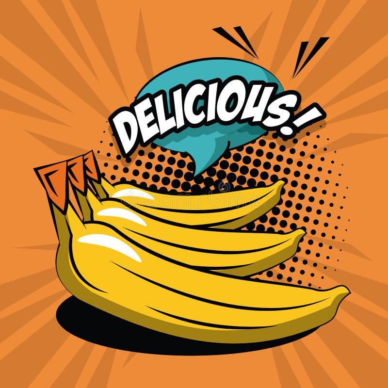 De heerlijke pictogrammen van het bananenpop-art stock illustratie