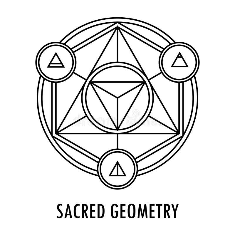 De heilige elementen van de meetkunde lineaire contour royalty-vrije illustratie