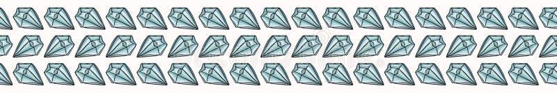 De heilige Esoterische Vectorgrens van Kwartscrystal magic hand drawn seamless vector illustratie