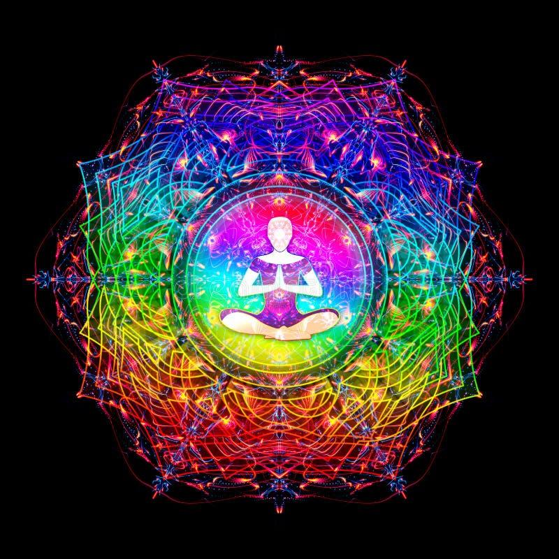 De heilige illustratie van meditatie abstracte kleurrijke mandala royalty-vrije illustratie
