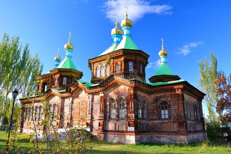 De heilige Kathedraal van de Drievuldigheid in Karakol royalty-vrije stock afbeelding