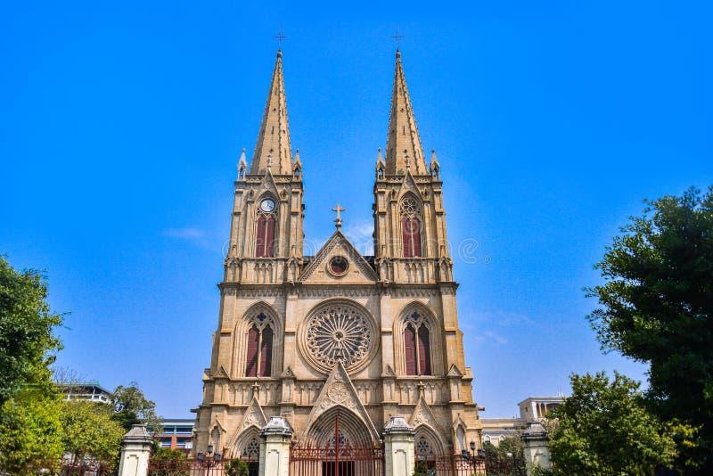 De heilige Kathedraal van het Hart is een Gotische Heroplevings Rooms-katholieke kathedraal in Guangzhou, China royalty-vrije stock foto's