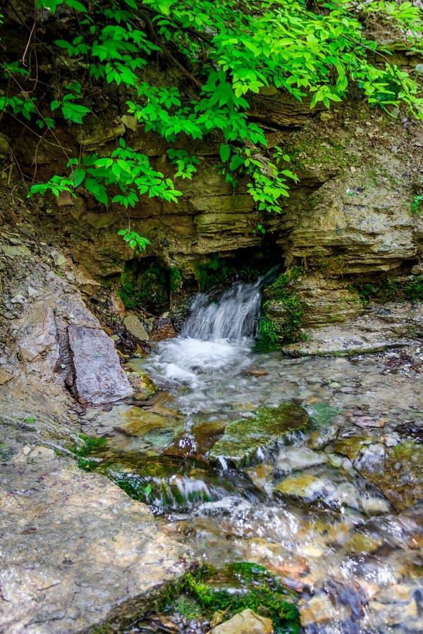 De heilige lentes in Izborsk Een kleine waterval in Rusland Afdaling van water royalty-vrije stock fotografie
