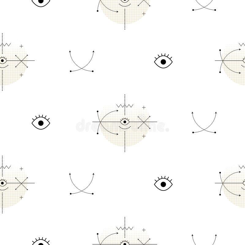 De heilige meetkundepijl geeft naadloos vectorpatroon gestalte vector illustratie